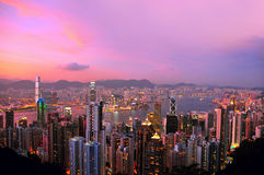 Hong-Kong en la noche Fotos de archivo