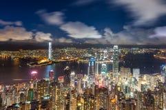 Hong-Kong en la noche Foto de archivo libre de regalías