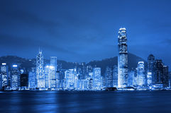 Hong Kong en la noche. Foto de archivo libre de regalías