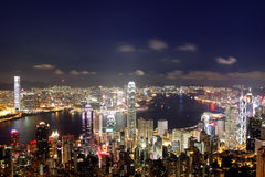 Hong Kong en la noche Imagen de archivo libre de regalías