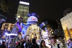 Hong Kong en la noche de la Navidad Imagen de archivo