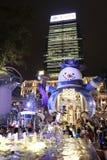 Hong Kong en la noche de la Navidad Imágenes de archivo libres de regalías