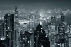 Hong-Kong en la noche en blanco y negro Imagen de archivo libre de regalías