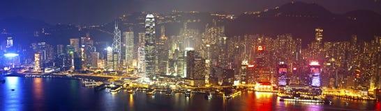 Hong Kong en la noche en la Navidad Imagen de archivo