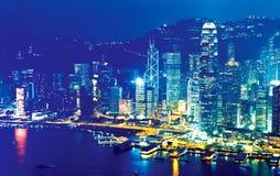 Hong Kong en la noche en la Navidad Imágenes de archivo libres de regalías