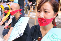 Hong Kong 1er juillet marche 2014 Photos stock