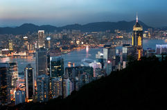 Hong Kong evening cityscape and Central Plaza Royalty Free Stock Image