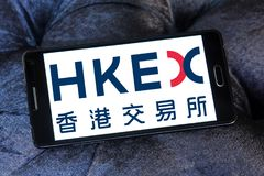 Hong Kong Exchanges and Clearing, HKEX logo. Logo of Hong Kong Exchanges and Clearing, HKEX on samsung mobile. It operates a stock market and futures market in Royalty Free Stock Images