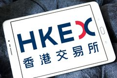 Hong Kong Exchanges and Clearing, HKEX logo. Logo of Hong Kong Exchanges and Clearing, HKEX on samsung tablet. It operates a stock market and futures market in Stock Image