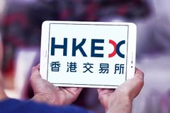 Hong Kong Exchanges and Clearing, HKEX logo. Logo of Hong Kong Exchanges and Clearing, HKEX on samsung tablet. It operates a stock market and futures market in Stock Photo
