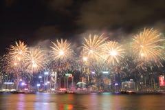 Hong Kong: Exhibición china 2016 de los fuegos artificiales del Año Nuevo Fotografía de archivo libre de regalías