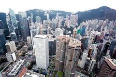 Hong Kong fågelsikt som är chian Arkivfoto