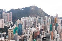 Hong Kong fågelsikt som är chian Royaltyfri Fotografi