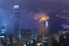 Feux d'artifice à Hong Kong, Chine Photo libre de droits