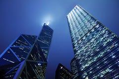 Hong Kong för affärsområde natt royaltyfri foto