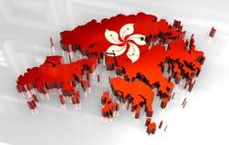 Hong Kong för flagga 3d översikt royaltyfri illustrationer