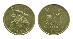 Hong Kong fünfzig Centmünzen lokalisiert auf Weiß Stockbild