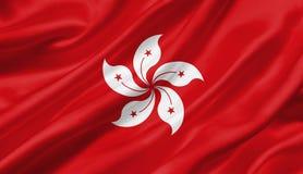 Hong Kong fahnenschwenkend mit dem Wind, Illustration 3D Lizenzfreie Stockfotografie
