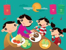 A Hong Kong family enjoys their family time and shares the festive foods in Chinese Lantern festival. Vector illustration of a Hong Kong family enjoys their Stock Photo