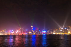 Hong Kong famous Laser harber Show Stock Photo