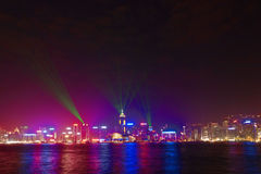 Hong Kong famous Laser harber Show Royalty Free Stock Images