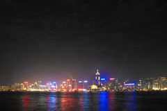 Hong Kong famous Laser harber Show Royalty Free Stock Photography