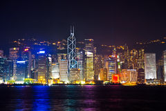 Hong Kong famous Laser harber Show Royalty Free Stock Photo