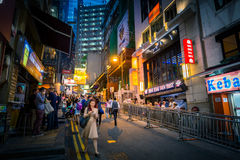Hong Kong Famous Nightlife place - Lan Kwai Fong. 2016 Stock Images