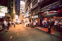 Hong Kong Famous Nightlife place - Lan Kwai Fong. 2016 Stock Photo