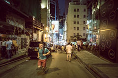 Hong Kong Famous Nightlife place - Lan Kwai Fong. 2016 Royalty Free Stock Image