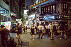 Hong Kong Famous Nightlife place - Lan Kwai Fong. 2016 Stock Photography