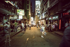 Hong Kong Famous Nightlife place - Lan Kwai Fong. 2016 Royalty Free Stock Photos