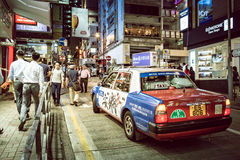 Hong Kong Famous Nightlife place - Lan Kwai Fong. 2016 Royalty Free Stock Photography