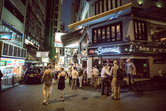 Hong Kong Famous Nightlife place - Lan Kwai Fong. 2016 Royalty Free Stock Photo