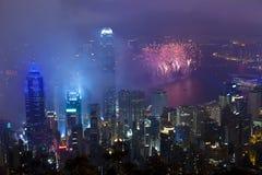 Fyrverkerier i Hong Kong, Kina Royaltyfria Foton