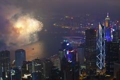 Fyrverkerier i Hong Kong, Kina Royaltyfri Fotografi