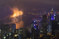 Fyrverkerier i Hong Kong, Kina Royaltyfri Bild