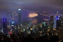 Fyrverkerier i Hong Kong, Kina Royaltyfria Bilder