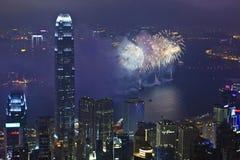 Fyrverkerier i Hong Kong, Kina Arkivbild
