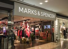 M&S store in Hong Kong. Marks and Spencer specializes in the selling of clothing and luxury food pro royalty free stock photos