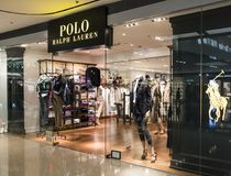 Polo Ralph Lauren store in Hong Kong. Polo Ralph Lauren is an American corporation founded in 1967 b royalty free stock photography