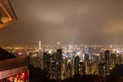 HONG KONG - Feburary zevenentwintigste 2016: Nachtmening van Victoria Peak royalty-vrije stock fotografie