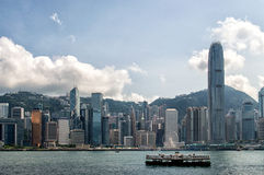 Hong Kong Ferry and Skyline Royalty Free Stock Images