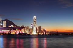 Hong Kong Finance Center with sunset Royalty Free Stock Images