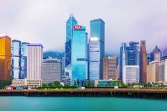 Hong Kong financial district buildings Stock Photos