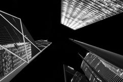 Hong Kong Financial District. Night upward silhouette shot of the buildings of Hong Kong`s Financial District in Central Royalty Free Stock Image