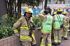 Hong Kong Firefighter rest time stock photography