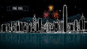 Hong Kong Firework Intro Animatio stock video footage