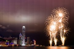 Hong Kong Fireworks. Chinese New Year, Hong Kong will be a fireworks display at Victoria Harbour Royalty Free Stock Photo