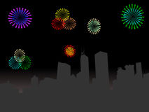 Hong Kong with fireworks Stock Images